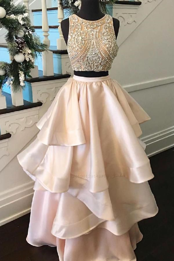 ca07abf184 Hot Sale Fetching Champagne Prom Dresses Gorgeous Two Piece Champagne Beads Long  Prom Dress Prom Dress