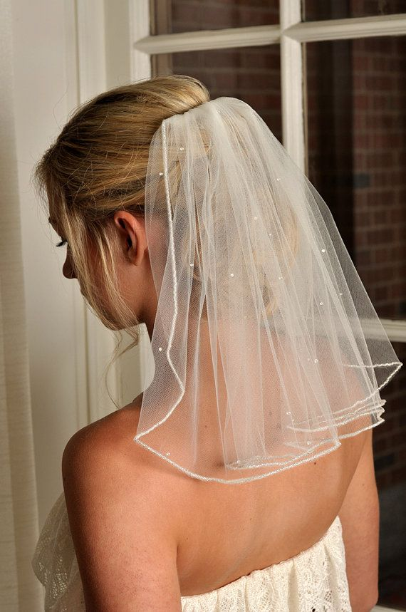 Pearl Bridal Veil Beaded Edge And Tered Swarovski Pearls Short Shoulder Length Wedding