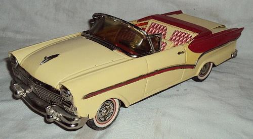 vintage bandai tin friction toy model car  ford fairlane convertible japan models toys