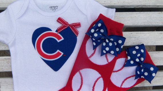 Chicago Cubs Baby Girl's Baseball by MonkeyPantsPartyHats on Etsy