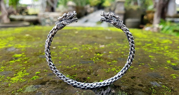 Men Snake Bangle Bracelet in 925 silver by Onyx Jewelry Boutique