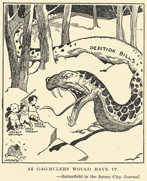 Sedition Act Cartoon. The Sedition Act of 1918 (enacted May 16, 1918) was an Act of the United States Congress that extended the Espionage Act of 1917 to cover a broader range of offenses, notably speech and the expression of opinion that cast the government or the war effort in a negative light or interfered with the sale of government bonds.