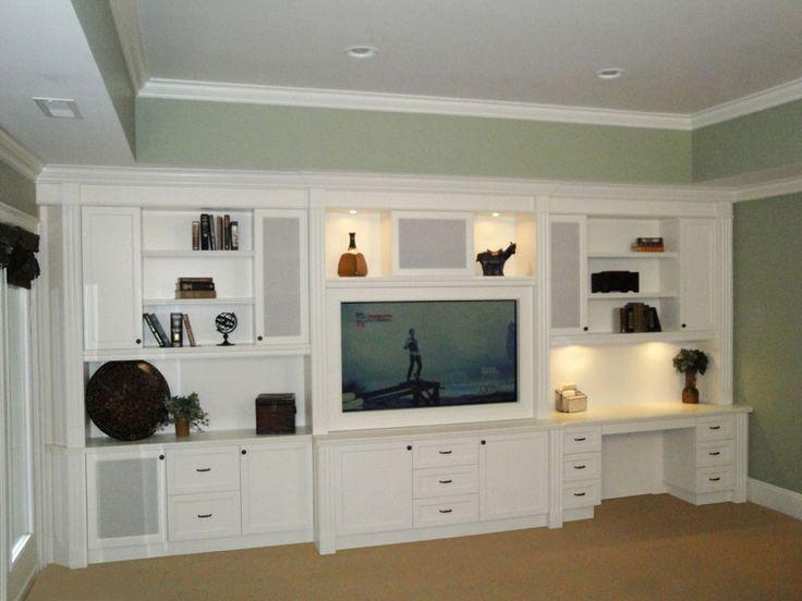 Built in Entertainment Centers | built-in-desk-shelves-and-entertainment-center.jpg - speaker fronts, desk can address floor vent