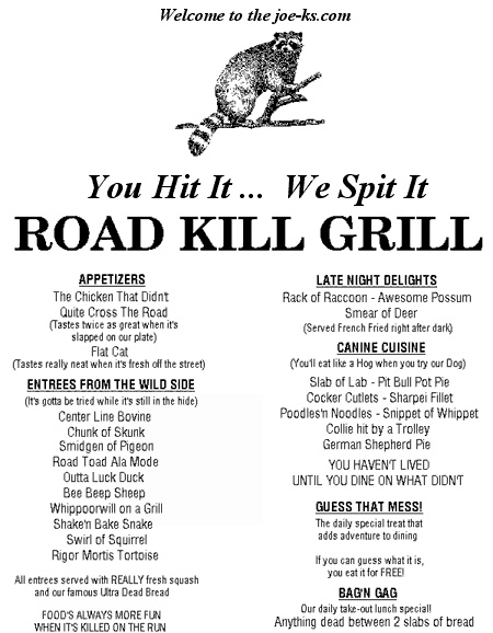 Redneck Cafe Menu