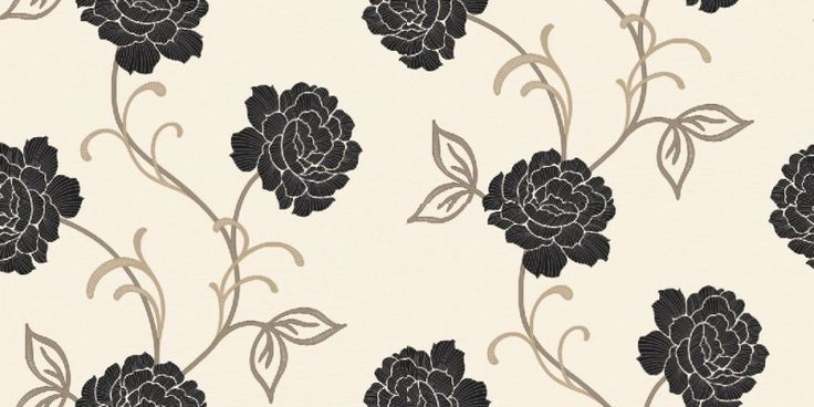 Lauren Motif Black/White (980407) - Arthouse Wallpapers - A pretty stylised floral rose trail on a textured vinyl background.  Shown drawn in grey on a fresh white background with black flowers. Available in other colours. Please ask for sample for true colour match.