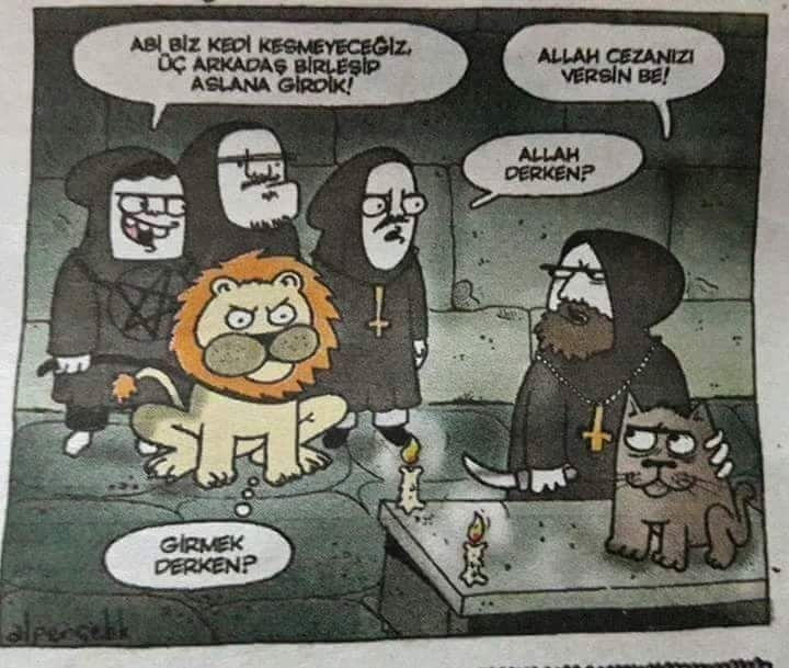 - Abi biz kedi kesmeyeceğiz. Üç arkadaş birleşip aslana girdik! + Allah cezanızı versin be! - Allah derken? + Girmek derken? #karikatür #mizah #matrak #espri #komik #şaka #gırgır #sözler #güzelsözler #komiksözler