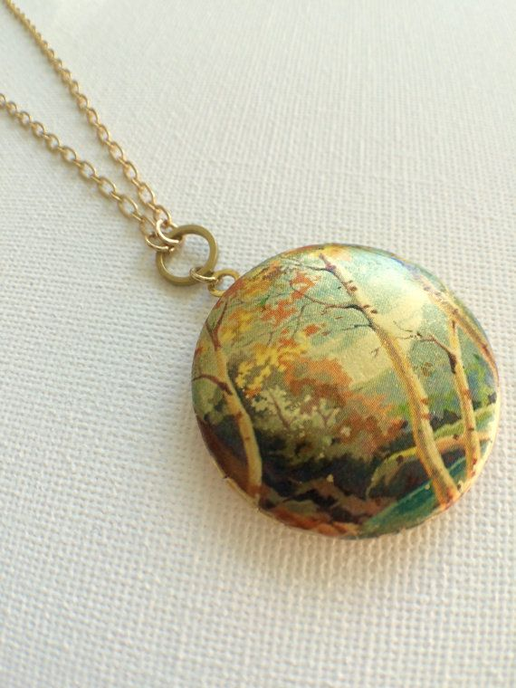 Vintage Photo Transfer Locket Autumn Necklace by PERCIVALandHUDSON