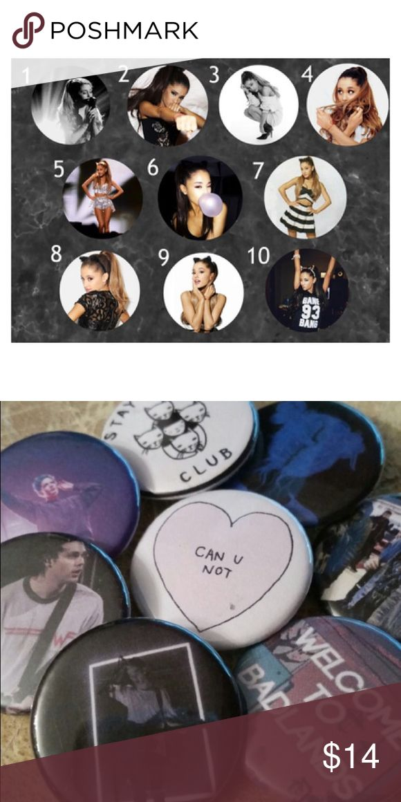 """Ariana Grande Buttons I do not sell individual buttons on this site. The lowest amount I will sell is 5 for $9. Please do not ask for anything lower than 5.   I am firm on pricing! 20 pins for $22 10 pins for $14 5 pins for $9  Pins are 1.25"""" across  Feel free to mix and match from different listings by telling me the numbers you want from each listing! I can then make you a custom listing for you to purchase!  I can also do custom buttons with any pictures you want! Comment for details :)…"""