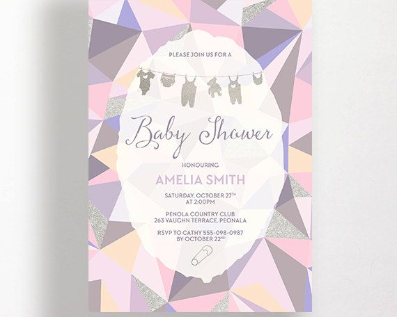 Baby Shower Invitation Pink Purple Peach Silver Grey Geometric Modern Clothesline Printable Onesie Bear Baby Sprinkle Invite Calligraphy