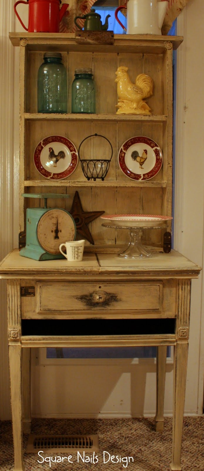 Mother's old sewing table.  Square Nails Design: Sewing Machine Cabinet Upcycle