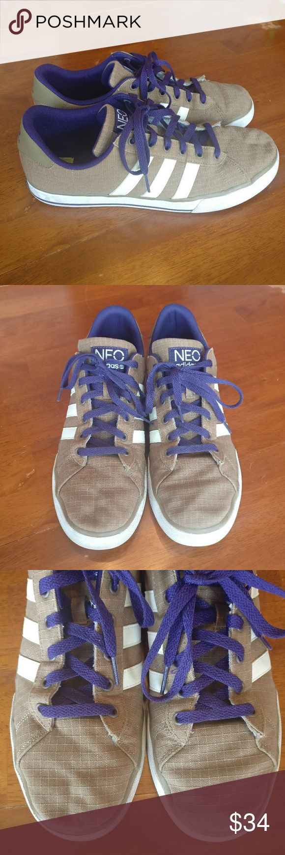 Adidas NEO OrthoLite Comfort Foam Sneakers Adidas  NEO OrthoLite Comfort Foam Insole Sneakers  These are like walking on clouds!  Tan with purple and white.  Gently used condition, there are a few marks/ imperfections. Soles in great condition, plenty of life left!  Men's size 11 adidas Shoes Sneakers