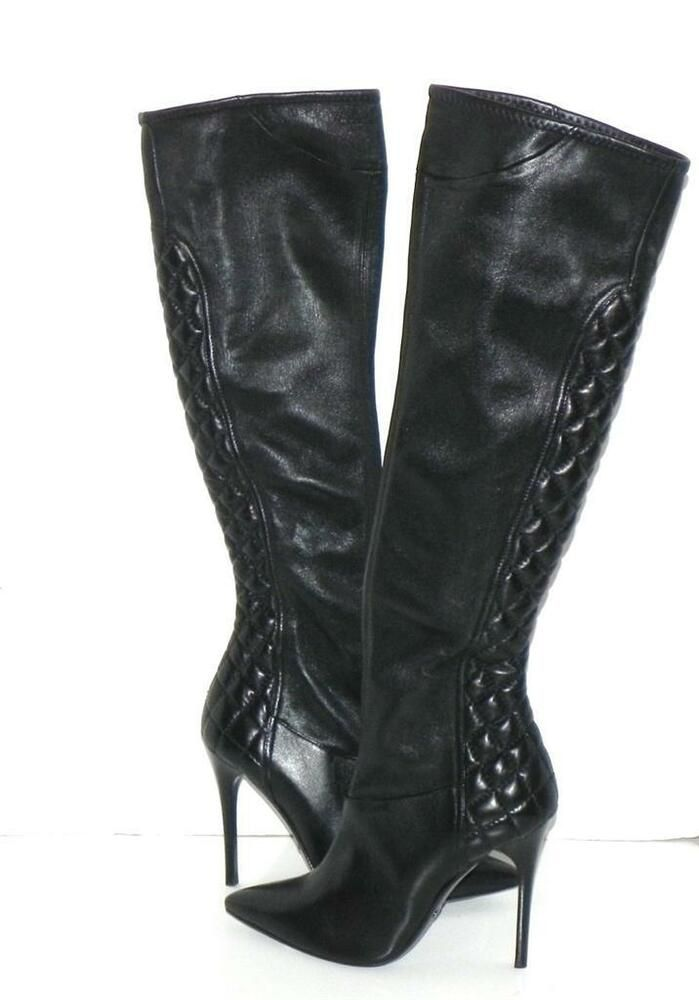 Details About Burberry Quilted Over The Knee Black Leather Boots 40 New No Box Runs Small Black Leather Boots Womens Black Leather Jacket Boots