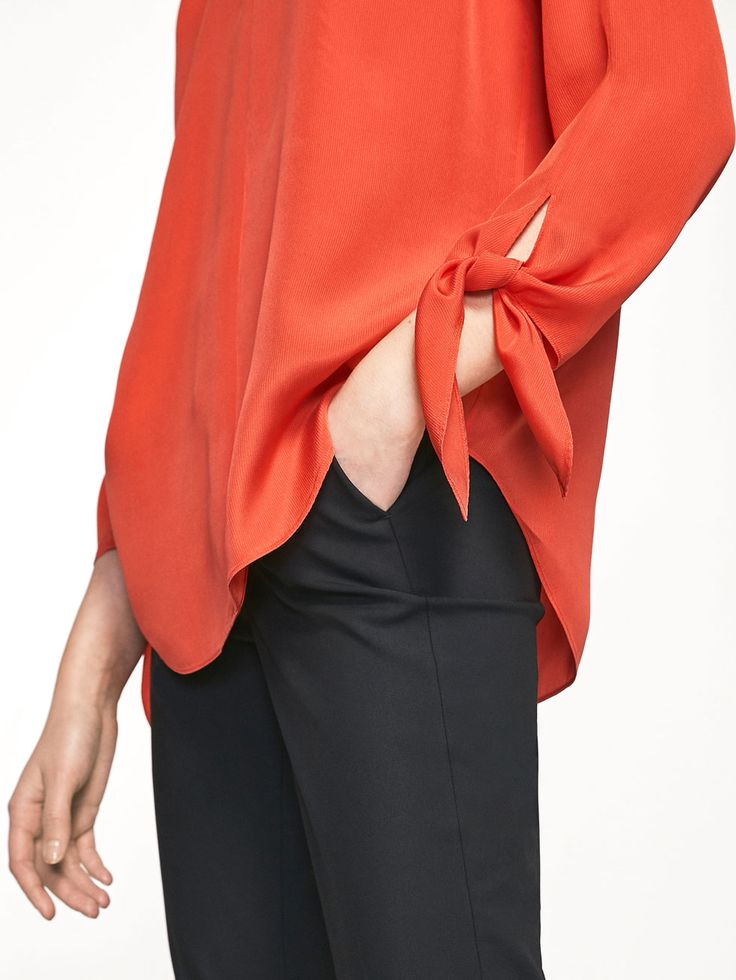 MASSIMO DUTTI  FLOWING BLOUSE WITH BOWS DETAIL