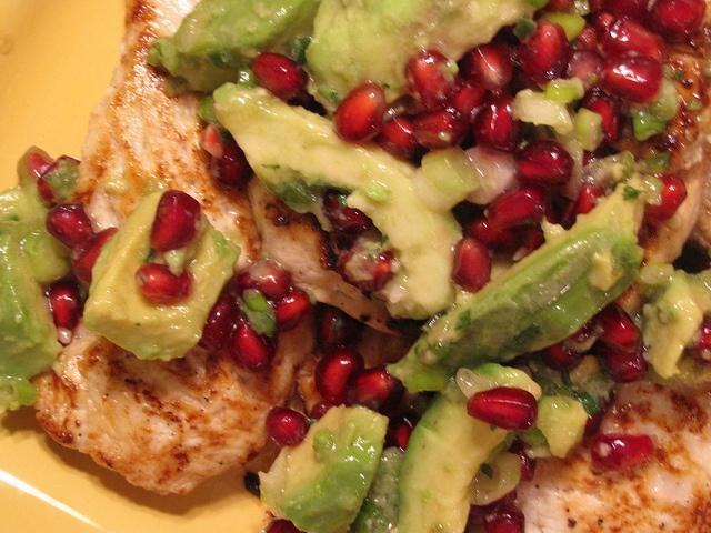 Chicken Paillards with Avocado and Pomegranate Salsa