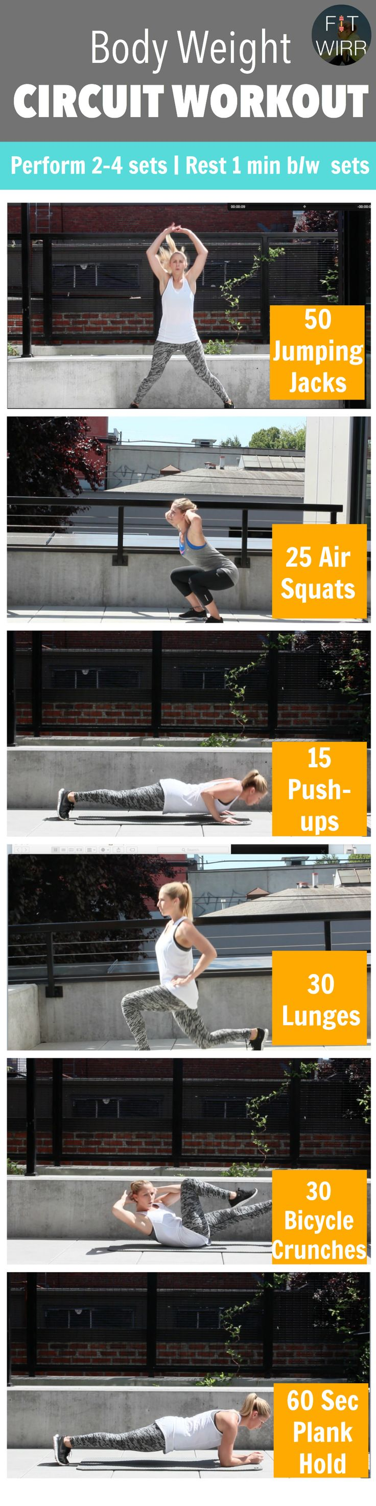 This bodyweight workout routine uses your own body weight as resistance and requires no other fitness equipments. Since all it takes is some space and your own weight, a bodyweight workout routine is suitable for home and travel.