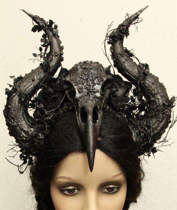 Raven skull Raven skull horns of Horn headpiece Crown by Zerrenety