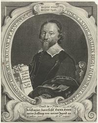 Portret van Simon Paulli | vermeld op object prentmaker: Haelwegh, Albert