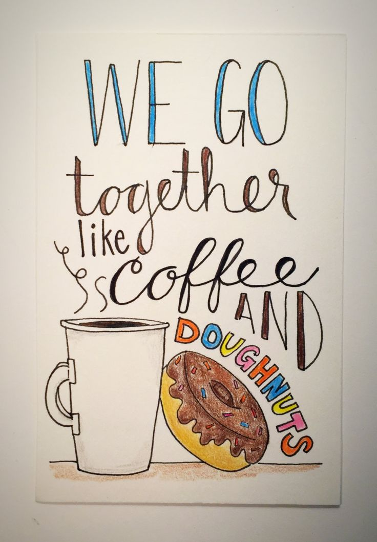 We Go Together Like Coffee and Doughnuts - pen and ink original art, love gift, anniversary gift, coffee cup, birthday gift by CLAIREandJAMESdesign on Etsy