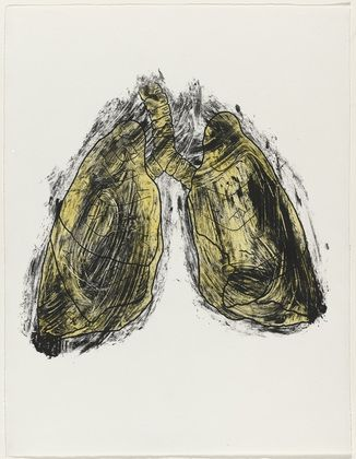 Kiki Smith. Lungs from Possession is Nine-Tenths of the Law. 1985, One from a portfolio of nine screenprints and monotypes with ink additions