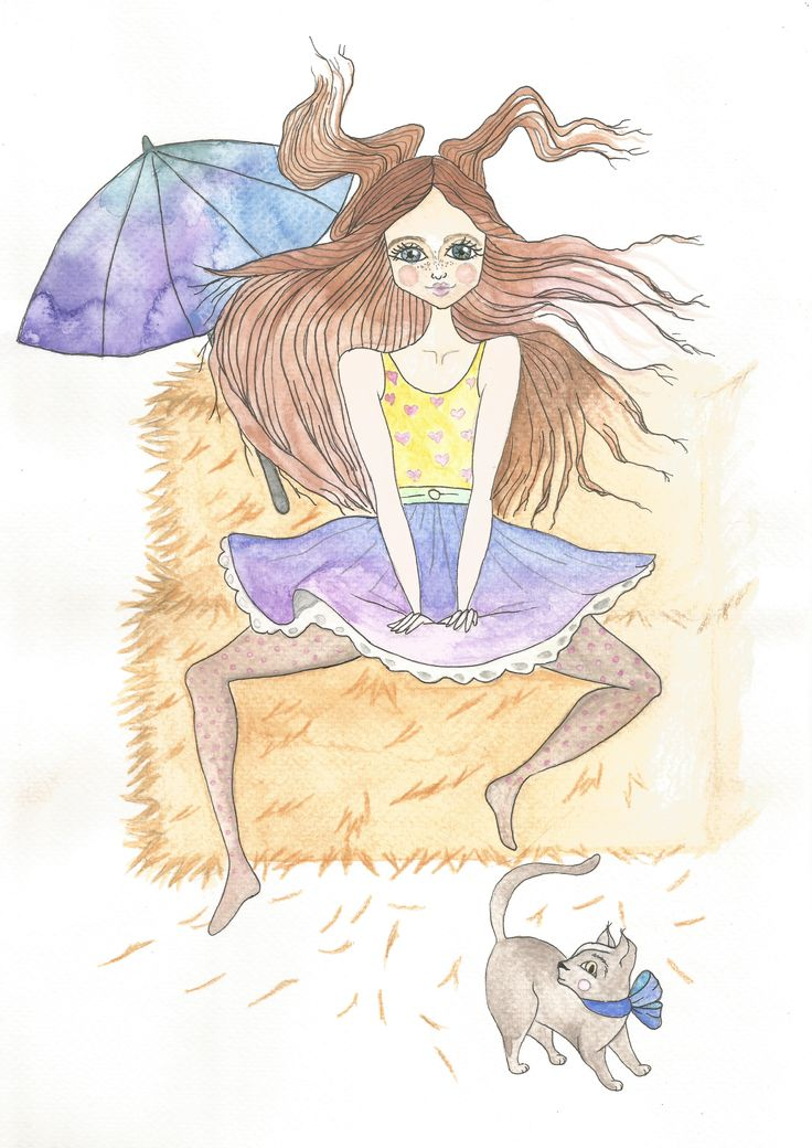 Little cat by girl watercolor by Bencze Anita Turquoise Janina illustration