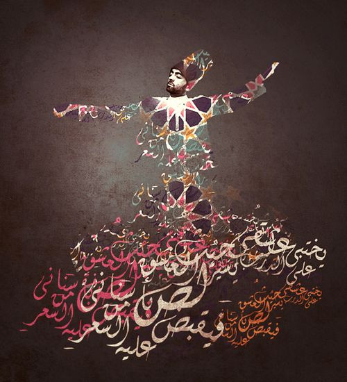 Whirling Dervish Sufi Dancer Calligraphy