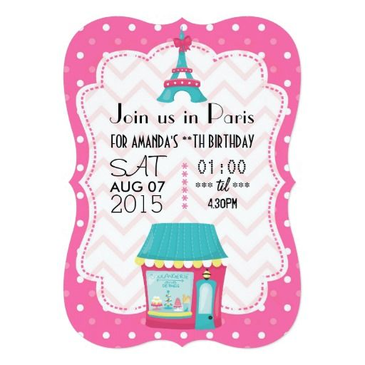 Girl's Pink Paris Theme Birthday Party Personalize 5x7 Paper Invitation Card