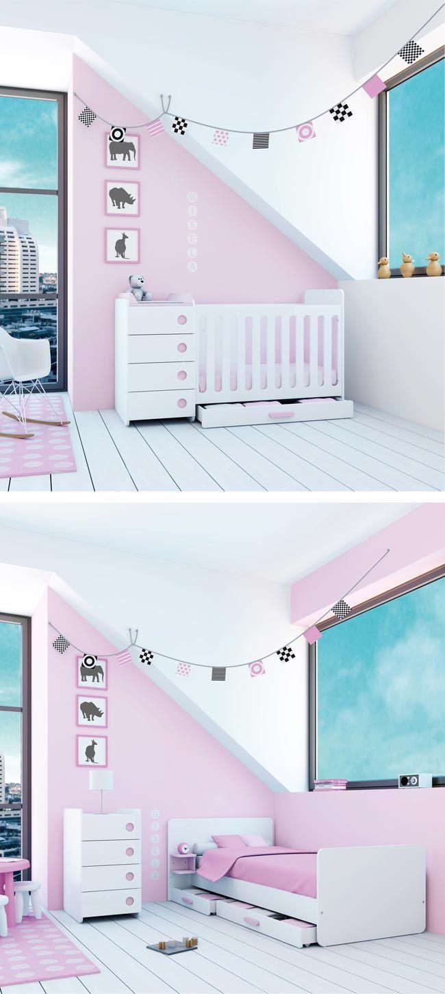 Cunas convertibles MINI ORIBIT de diseño y modernas para bebés niñas en color rosa. Modern convertible crib for her