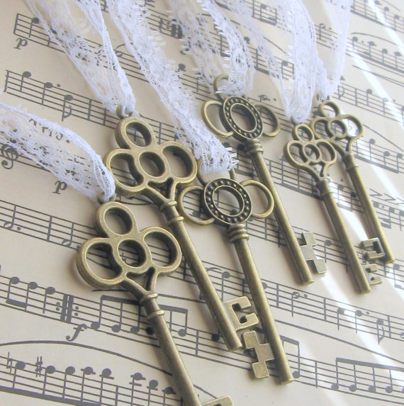 Skeleton Key Favors 25 Wedding Gift Tie Ons Christmas Tree Decorations Rustic