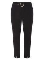 Womens Black Circle Belt Tapered Trousers- Black