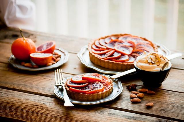 blood orange honey-glazed five spice tart with almond creamDesserts, Breakfast, Orange Honeyglaz, Food Photography, Almond Cream, Orange Honey Glaz, Orange Tarts, Spices Tarts, Blood Orange