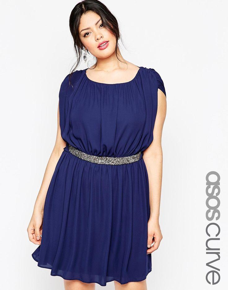ASOS CURVE Mini Dress with Embellished Waist