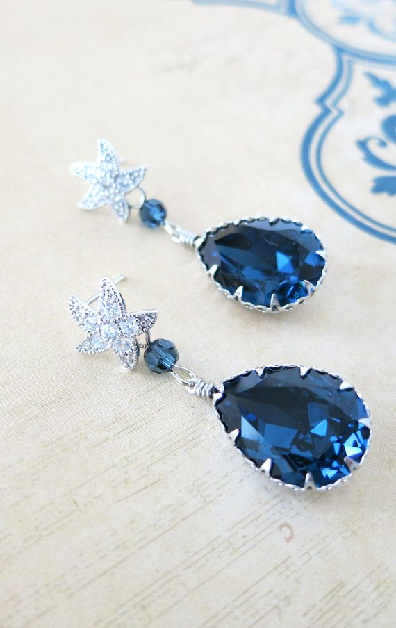 Starfish - Cubic Zirconia Starfish Earrings Swarovski Montana blue Crystal Teardrop, Bridal Beach Wedding Bridesmaid Earrings, Silver, by GlitzAndLove on Etsy, www.glitzandlove.com