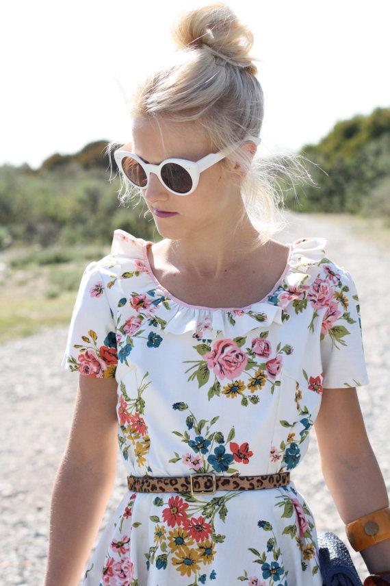 50s colourful floral print dress