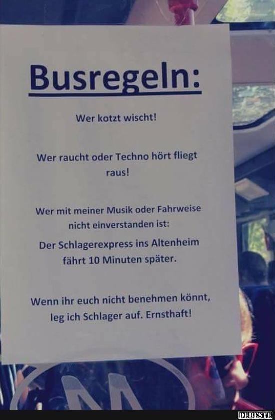 Busregeln..   Lustige Bilder, Sprüche, Witze, echt lustig