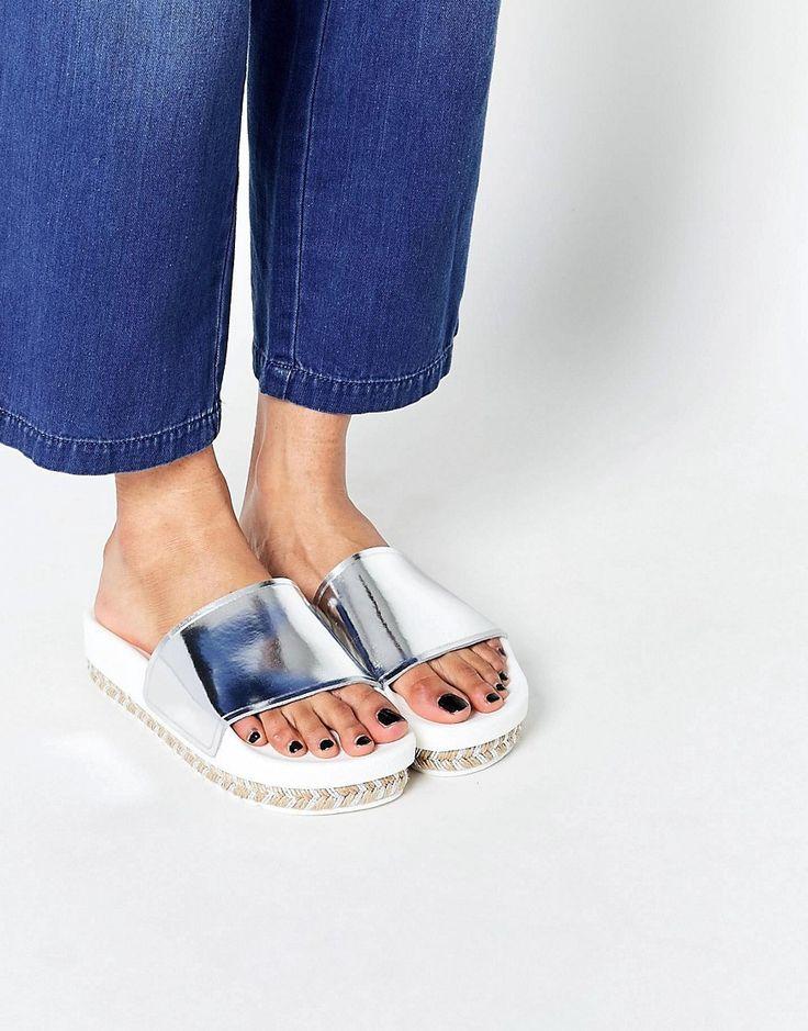 SixtySeven+Serla+Patent+Silver+Espadrille+Slider+Sandals