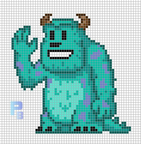 Sulley Monsters, Inc. perler pattern - Patrones Beads / Plantillas para Hama/ could be used as a cross stitch pattern