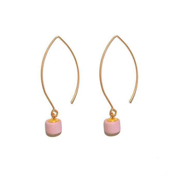 Barrel Drop Earring - Pink - Indigos Market