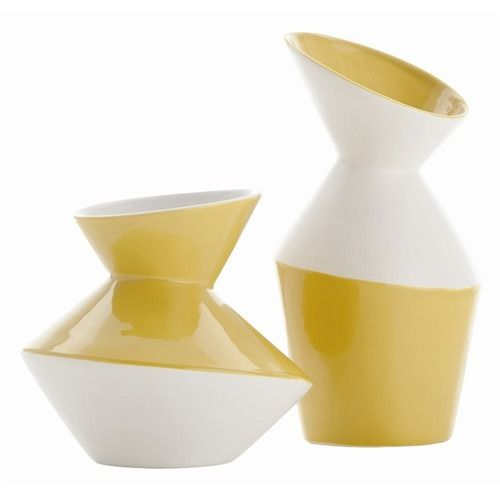 Yuma Porcelain Stacked Disc Vases, S/2 - Arteriors - $141.60