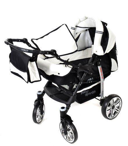 Baby Sportive - Sistema de viaje 3 en 1, silla de paseo, carrito con capazo y silla de coche, RUEDAS GIRATORIAS y accesorios, color negro, blanco