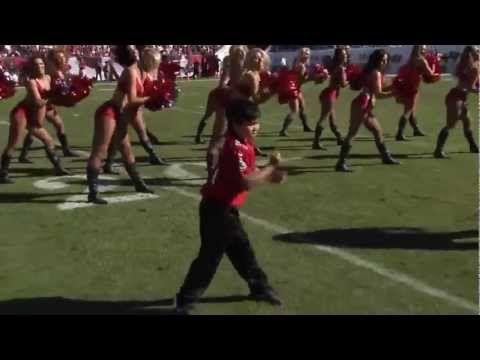 This kid is great.   Kid dances with Tampa Bay Buccaneers Cheerleaders