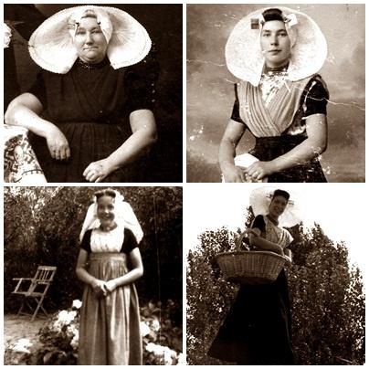 Vier generaties Zeeuwse vrouwen. V.l.n.r.: Cornelia Fraanje-Steenblok (1868-1938), Jannetje van Westen-Fraanje (1895-1979), Alida Koets-van Westen (1938-1989), Anna van Waarden-Koets (1961)