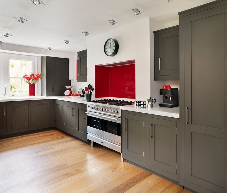 Red And Grey Kitchen Cabinets Delectable Inspiration