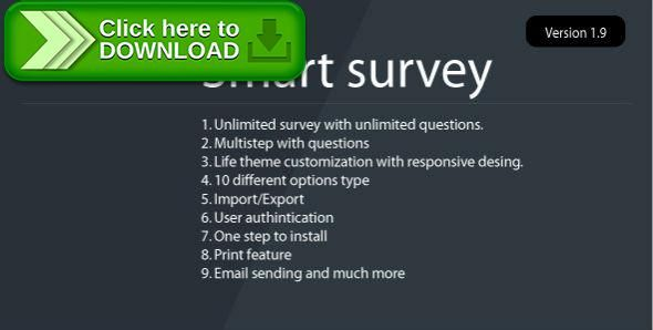 [ThemeForest]Free nulled download Smart Survey from http://zippyfile.download/f.php?id=53990 Tags: ecommerce, csv export, csv import, form builder, online surveys, php polls, php survey, php survey script, php survey system, questionnaire, questionnaires, Survey Form Builder, Survey Maker