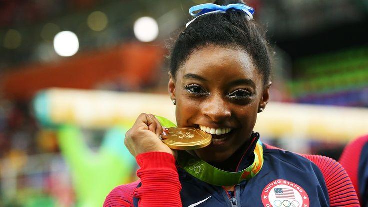 Simone Biles, Gold Medal, Champions, Smile, Happy, Winner, Gymnastics, Womens Gymnastics Simone Biles Gold Medal