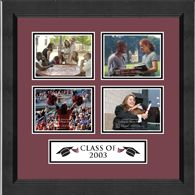 """Class Of Lasting Memories Photo Frames  - Showcase your favorite photos with your class year set into acid-free matting. The frame is made with 100% recycled wood in your choice of our black Arena moulding or our mahogany Sierra moulding. Holds four 3.5"""" x 5""""; photos.  Start customizing today with your school colors for a spirited photo frame!"""