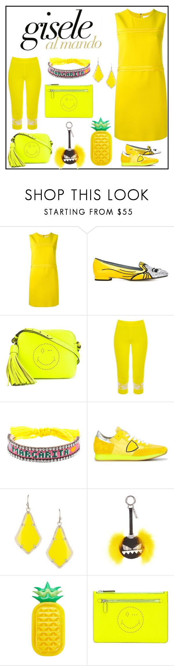 """Yellow looks"" by denisee-denisee ❤ liked on Polyvore featuring Victoria, Victoria Beckham, Chiara Ferragni, Anya Hindmarch, adidas, Shourouk, Philippe Model, Kendra Scott, Fendi, Sunnylife and vintage"