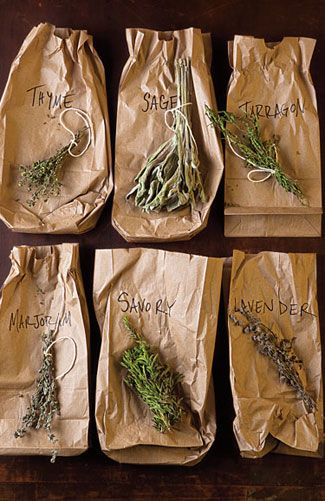If you are harvesting herbs from your garden to dry for winter use, tie some up and place a paper bag over them to keep dust off, then hang them in a warm place. Once dried, you can crush them into herb blends.