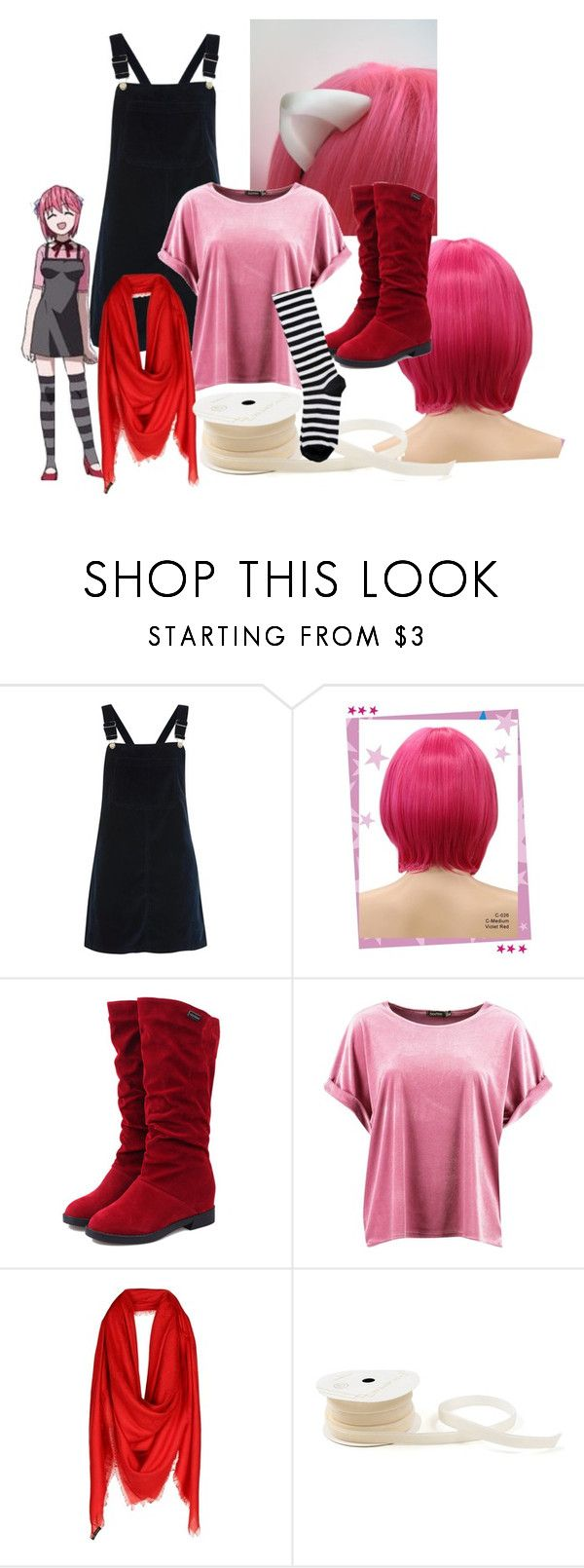 """Elfen Lied Lucy/Nyu"" by m289651 ❤ liked on Polyvore featuring Nana', Topshop, Wigs2You, Boohoo and Versace"