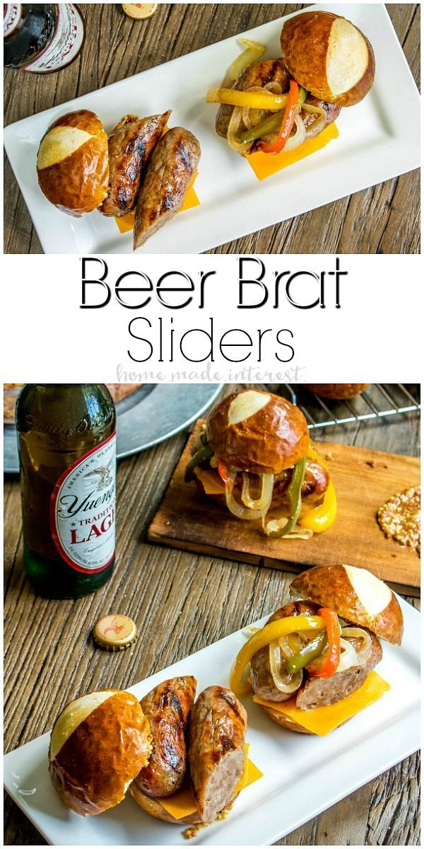 Beer Brat Sliders   If you're looking for the best grill recipe I've got your covered. These Beef Brat Sliders are the best summer party food and they are an amazing way to use grilled bratwurst all summer long. These brats are infused with beer and served on a pretzel bun with beer braised onions and cheddar cheese. This is an easy slider recipe that is perfect for game day parties and makes great football party food. AD #BeerBrats