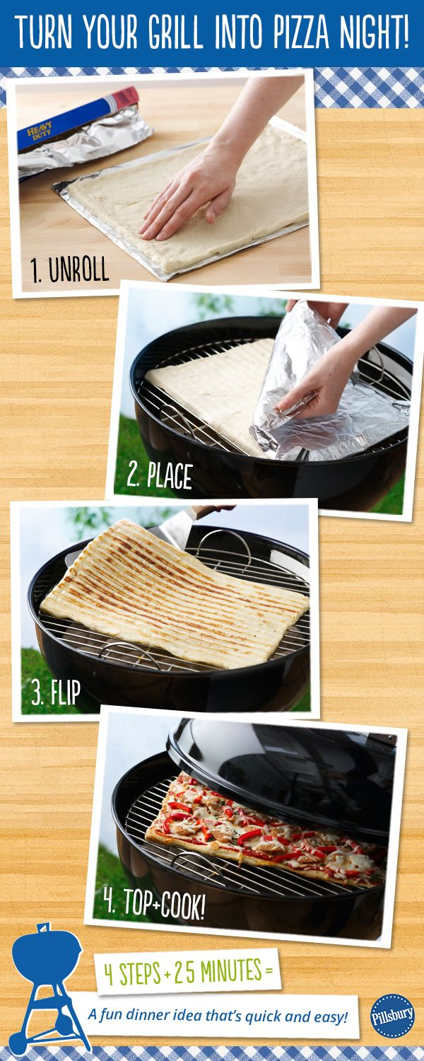 How to make Pizza on the grill -- Incredibly easy, quick and delicious! Mix up your toppings for an easy dinner. #grilling
